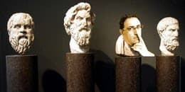 4 heads of philosopher in marble